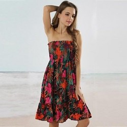 Sexy Floral Print Bandeau Beach Cover Up Dress