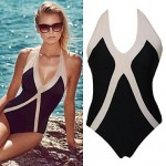Push-up Color Block/Bandage/Geometric Halter One-pieces Backless Beach Swimwear Uk For Women (Polyester/Spandex)