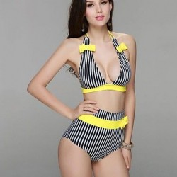 Striped Alluring Halterneck Decorative Bow Two Pieces Swimwear Uk For Women