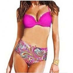 Polyester Floral Print Sexy Bikinis Swimwear Uk For Women with Pad And Wire