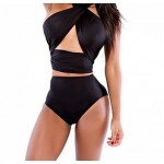 2019 New Bathing suit Sexy Black High Waist Halter Backless Polyester Plus Size Bandage Swimwear Uk For Women Bikini Sets For Women