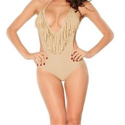 PINKQUEEN Apricot Ultra-sexy V-neck One Pieces Fringe Bikini Swimsuit Uk For Women
