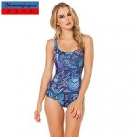 CMFC®Blue Sexy Swimwear Uk For Women Printed Bodycon Jumpsuit HotBikini