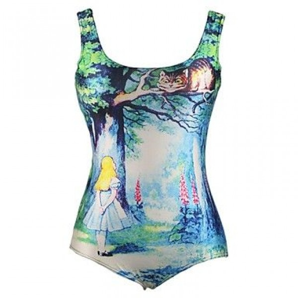 PinkQueen Polyester Alice in Wonderland Printed One-pieces Swimwear Uk For Women