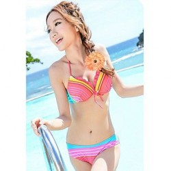 Three Piece Colorful Stripes Padded Underwire Swimsuit Uk For Women