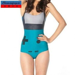 Jumpsuit Sexy Turquoise Gameboy Bodycon Print Bathing Suit Hot Lady Top One Piece