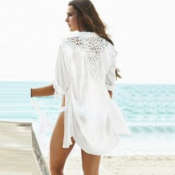 White beach cover up half sleeve 2019 new beach shirt fashion design summer beach shirt hollow out lace cover