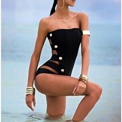 Sexy Black One-piece Swimsuit Uk For Women Button Design