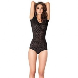 SMK Velvet Sexy Tights With Short Sleeves One-piece Swimwear Uk For Women