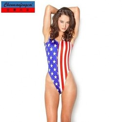 Sexy American Flag Elasticated Bathing Suit Suit Sexy Print Bodycon Jumpsuit