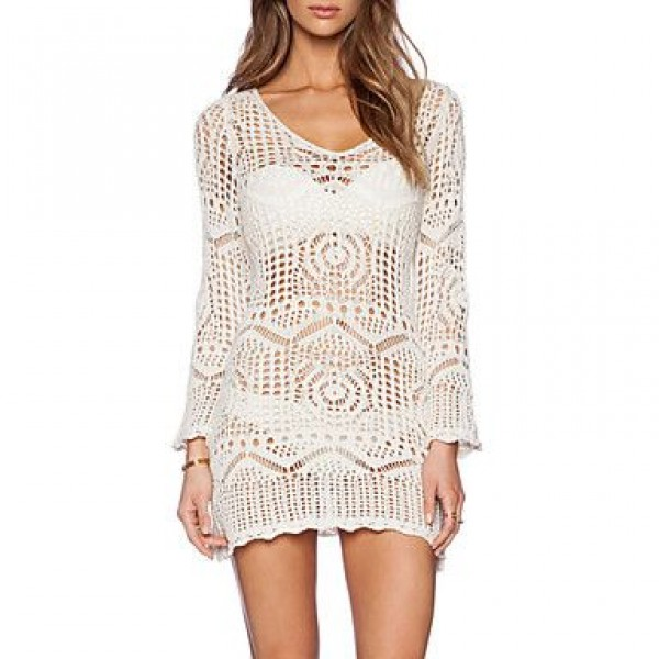 Fashion Hollow Crochet Long Sleeve Swimsuit Uk For Women Swimwear Uk For Women Bikini Dress Beach Cover Up