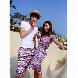 Fashionable Colorful Prismatic Stripe Lovers Beach Dress And Pants Men And Two Sets