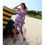 Fashionable Colorful Prismatic Stripe Lovers Beach Dress and Pants (Men and Two Sets)