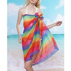 Stylish Colorful Printing Chiffon Beach Towel Cover Up