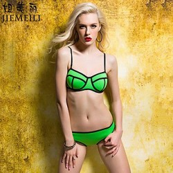 JIEMEILI Push Up Color Block Halter Bikinis Cotton Blends