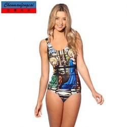 Sexy Elasticated Bikini Bathing Suit Sexy Religious Mosaic Print Bodycon Jumpsuit Top