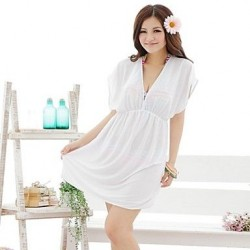 European and American Style White V-Neck Beach Dress