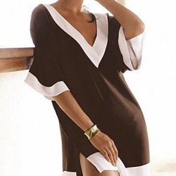 Brown and white fashion beach clothes deep v-neck sexy swimsuit cover ups brand beach wear dress