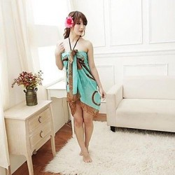Korean Green Bottom Color Coffee Chiffon Beach Towel, Veil