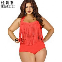 JIEMEILI Wireless Loose Tassels Solid Straped Tankinis Cotton Blends