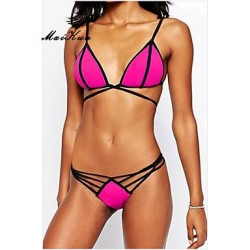 2019Push Up Padded Bras High Rise Color Block Solid Halter Bikinis Others DLM Bikini0007