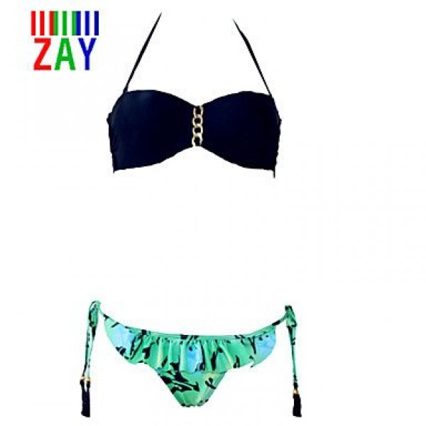 ZAY Sweet Sexy Color Block Print Bikinis Set