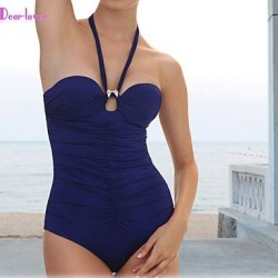 Push Up Underwire Bra Padless Bra High Rise Solid Bandage Halter One Pieces Polyester Spandex