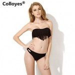 Colloyes Black Bandeau Top with Fringe Detail at Bust Bikinis Swimwear Uk For Women