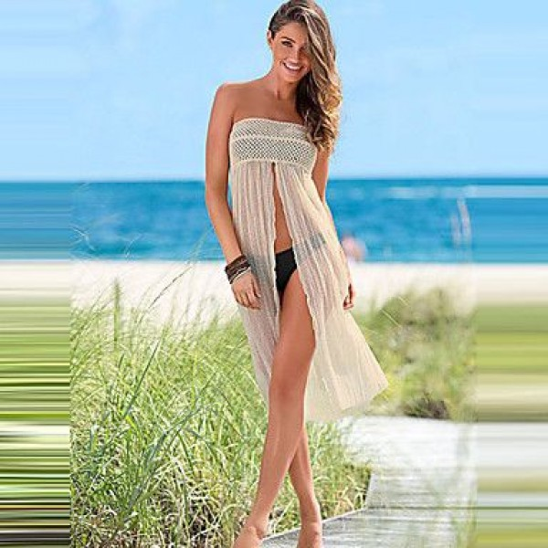 sheer mesh beachwear dress creamy white see through new trendy beach wrap two way to wear beach coverup