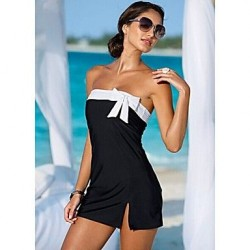 Sexy Butterfly Decoration One Suit Halter Swimming Dress