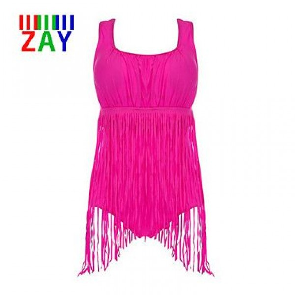 ZAY Push-up Tassels Solid Halter One-pieces