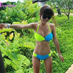 Push-up/Underwire Bra/Padless Bra Color Block/Bandage Halter Bikinis (Polyester/Spandex)