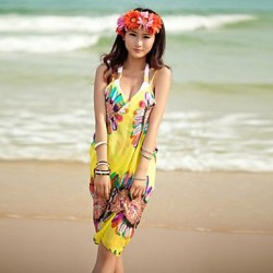 HOT Beach Scarf New Sexy Chiffon Summer Swimwear Uk For Women Dress Beach Cover Up Floral Pareo Sarongs Bikini Scarves