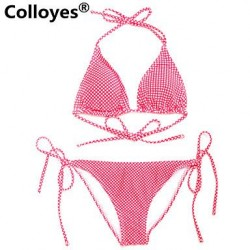 Colloyes Polka Dot Triangle Top with Classic Cut Bottom Padded Bras Straped Bikinis Swimwear Uk For Women