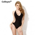 Colloyes Black One-piece with Fringe Side Cut-outs Bikinis Swimwear Uk For Women