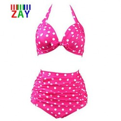 ZAY Sexy Push-up High Waist Dot Print Halter Bikinis Set