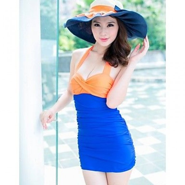 Sweet Summer Beach Color Block Push Up One Pieces Swimwear Uk For Women