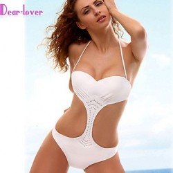 Push-up/Padless Bra Solid Halter One-pieces (Polyester/Spandex)