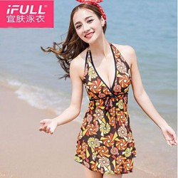 Woman fashion sexy swimsuit leakage shoulder flower pattern