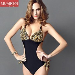 The New Piece SwimSuit Sexy Leopard ConServative SwimSuit