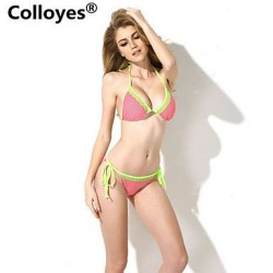 Colloyes Lace Triangle Top with Classic Cut Bottom Padded Bras Straped Bikinis Swimwear Uk For Women (Polka Dot + Green)
