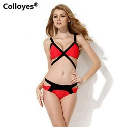 Colloyes Triangle Top with Classic Cut Bottom Padded Bras Straped Bikinis Swimwear Uk For Women (Black+Red)