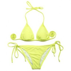 I-Glam Greenish Yellow Triangle Top with Classic Cut Bottom Bikini Swimwear Uk For Women
