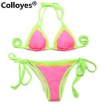 Colloyes Light Removable Paddings Lace Triangle Top with Classic Cut Bottom Padded Bras Straped Bikinis Swimwear Uk For Women