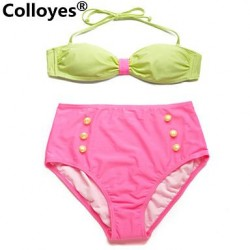 Colloyes Greenish Yellow+ Pink Bandeau Top High Waist Bottom Adjustable Halter Straps Bikinis Swimwear Uk For Women