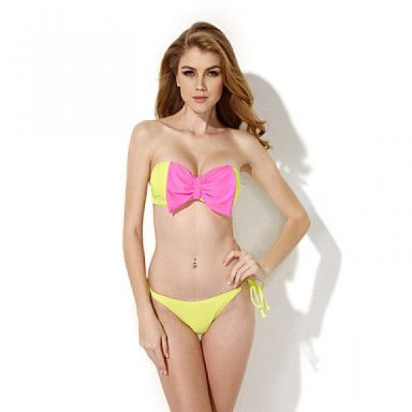 Colloyes 2019 New Sexy Greenish Yellow Bandeau Top Bikini Swimwear Uk For Women with A Playful Bow at the Center Front in Low Price