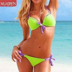DropletS Sexy Bikini SwimSuit Female Diamond RhineStone Buckle SwimSuitS