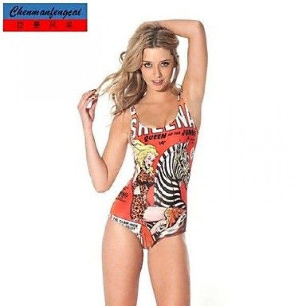 Jumpsuit Sexy Queen Of The Jungle Bodycon Print Bathing Suit Hot Lady's Top Wear