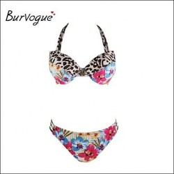 Burvogue Sexy Push Up Flower Leopard Padded Bathing Brazilian Swimwear Uk For Women