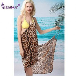 Wireless Floral Halter Cover Ups Swimsuit Polyester Spandex